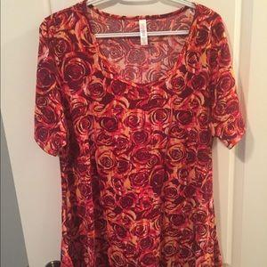 Lularoe XL Perfect Red Orange Roses